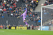 MK Dons forward Jake Forster-Caskey hits the bar during the Sky Bet Championship match between Milton Keynes Dons and Rotherham United at stadium:mk, Milton Keynes, England on 9 April 2016. Photo by Dennis Goodwin.