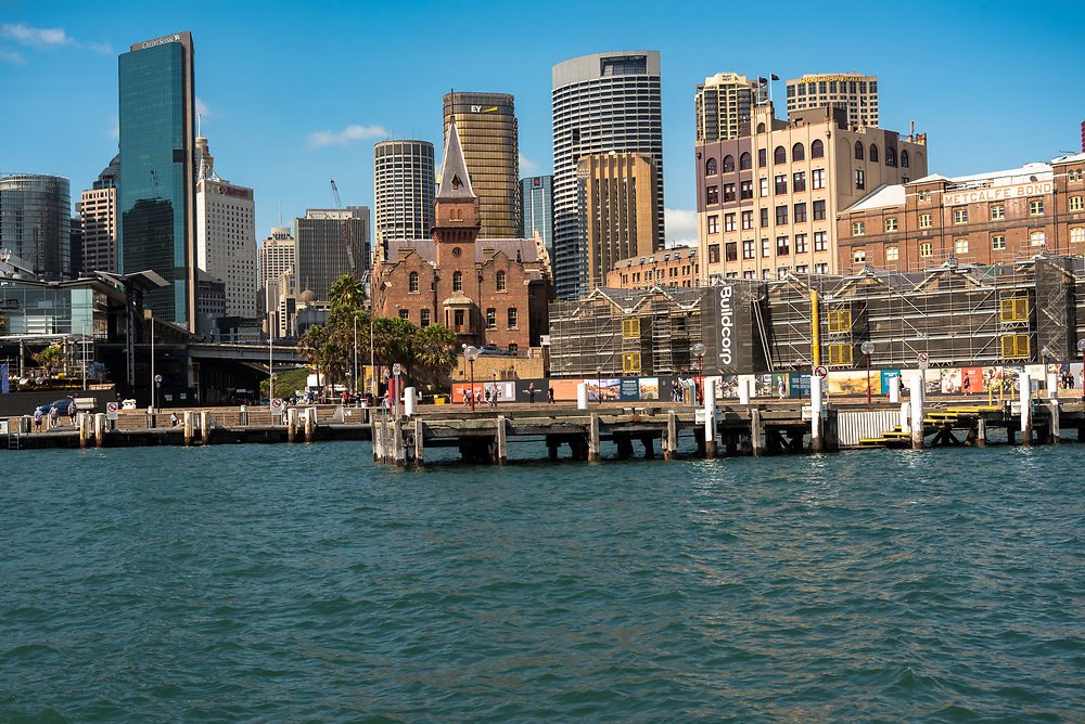 Sydney, Australia -- February 17, 2018. A shot of the  Sydney harbor with the skyline in the background. Editorial use only.