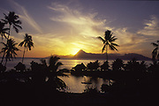 Moorea at sunset seen from Tahiti, French Polynesia<br />