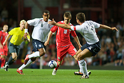 BIRMINGHAM, ENGLAND - Monday, October 13, 2008: Wales' Aaron Ramsey in action against England during the UEFA European Under-21 Championship Play-Off 2nd Leg match at Villa Park. (Photo by Gareth Davies)