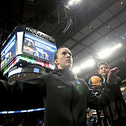 March 31, 2019; Portland, OR, USA;  Oregon Ducks guard Sabrina Ionescu (20) leaves the court after shoot around in the Elite Eight of the NCAA Women's Tournament at Moda Center.<br /> Photo by Jaime Valdez