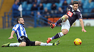 Daniel Pudil of Sheffield Wednesday fouls Jacob Butterfield of Derby County during the Sky Bet Championship match at Hillsborough, Sheffield<br /> Picture by Graham Crowther/Focus Images Ltd +44 7763 140036<br /> 06/12/2015