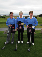 Deidre Connelly,  Mary Conefrey and  Helen Clarke from Sligo Golf Club  at the Galway Golf Club for the AIB Ladies Irish Open Club Challenge qualifier..Photo:Andrew Downes