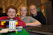 (Raheen NS) Scoil Naomh Cuan's Jamie Kilkenny, Mollie Gohery and Alesha Duffy  with one of their projects at the Jnr Lego League organized through schools by the Galway Education Centre at The Radisson blu hotel<br />  Photo: Andrew Downes,  xposure