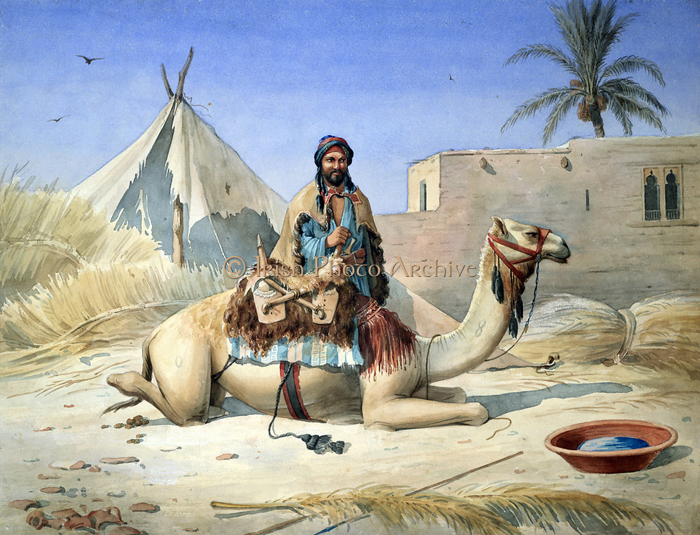 A Bedouin beside his Camel, probably in Egypt', c1836-1843.  Watercolour. Emile Prisse d'Avennes (1807-1879) French architect, engineeer and orientalist.  Arab Desert Transport Animal Saddle