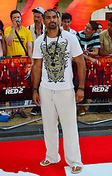 Red 2 UK film premiere.<br /> David Haye during the premiere of the sequel to 2010's graphic novel adaption, about a group of retired assassins. <br /> Empire Leicester Square<br /> London, United Kingdom<br /> Monday, 22nd July 2013<br /> Picture by Nils Jorgensen / i-Images