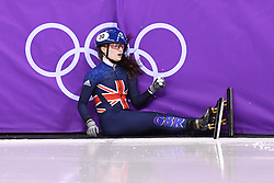 PYEONGCHANG, Feb. 10, 2018  Thomson Kathryn of Britain falls during the women's 500m heat of short track speed skating event of 2018 PyeongChang Winter Olympic Games at Gangneung Ice Arena, South Korea, Feb. 10, 2018. (Credit Image: © Ju Huanzong/Xinhua via ZUMA Wire)