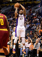 Nov. 09, 2012; Phoenix, AZ, USA; Phoenix Suns forward P.J Tucker (17) puts up a shot against the Cleveland Cavaliers during the second half at US Airways Center. The Suns defeated the Cavaliers 107-105. Mandatory Credit: Jennifer Stewart-US PRESSWIRE
