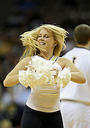 December 22 2010: An Iowa cheerleader during the first half of an NCAA college basketball game at Carver-Hawkeye Arena in Iowa City, Iowa on December 22, 2010. Iowa defeated Northern Iowa 75-64.