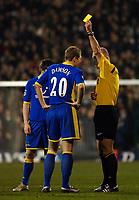 Photo: Daniel Hambury.<br />Fulham v Tottenham Hotspurs. Barclays Premiership. 31/01/2006.<br />Tottenham's Michael Dawson is booked.