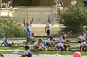 Seville, Andalusia, SPAIN<br /> <br /> 2002 World Rowing Championships - Seville <br /> - Spain <br /> <br /> Saturday  21/09/2002.<br /> <br /> Men's Coxed Fours Final ITA M4+ and GER M4+ Celebrate<br /> <br /> <br /> Rio Guadalquiver Rowing course<br /> <br /> <br /> [Mandatory Credit:Peter SPURRIER/Intersport Images]