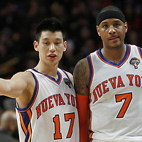 12 March 2012: New York Knicks point guard Jeremy Lin (17) talks to New York Knicks small forward Carmelo Anthony (7) during the Chicago Bulls 104-99 victory over the New York Knicks at the United Center, Chicago, Illinois, USA.
