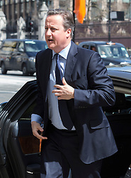 © Licensed to London News Pictures. 03/05/2016. LONDON, UK.  DAVID CAMERON arrives at a service of Thanksgiving for the life and work of former Chancellor of the Exchequer, Rt Hon The Lord Geoffrey Howe of Aberavon CH PC QC at St Margaretís Church, Westminster Abbey.  Photo credit: Vickie Flores/LNP