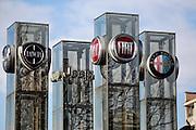 Loghi del gruppo Fiat al Motorvillage di Mirafiori, Torino