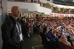 Coach Mats Waltin watching the last game in Halifax (Norway vs Latvia) before Slovenian National team packing and going from Citadel Hotel to the Halifax airport, when they finished with games at IIHF WC 2008 in Halifax, on May 11, 2008, Canada. (Photo by Vid Ponikvar / Sportal Images)