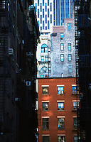 Alley with typical Eastcoast brick buildings in New York, with fire exits.