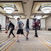 Loyola University Chicago Men's Basketball players practice in a ballroom inside the Hyatt Regency before the first round game of the NCAA Tournament against the University of Miami at the American Airlines Center in Dallas, TX., on Thursday, March 15, 2018. (Photo: Lukas Keapproth)