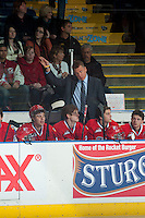 KELOWNA, CANADA - MARCH 5: Don Nachbaur, head coach of the Spokane Chiefs stands on the bench against the Kelowna Rockets on March 5, 2014 at Prospera Place in Kelowna, British Columbia, Canada.   (Photo by Marissa Baecker/Getty Images)  *** Local Caption *** Don Nachbaur;