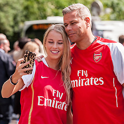 © Licensed to London News Pictures. 30/05/2015. London, UK. Arsenal supporters taking a selfie, as fans gather at Wembley Stadium for the FA Cup Final 2015, between Arsenal and Aston Villa. Photo credit : Stephen Chung/LNP