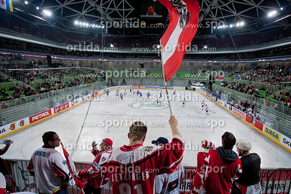Fans of Austria during ice-hockey match bewteen Ukraine and Austria at IIHF World Championship DIV. I Group A Slovenia 2012, on April 15, 2012 at SRC Stozice, Ljubljana, Slovenia. (Photo By Matic Klansek Velej / Sportida.com)