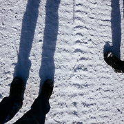 Abstract people image along the cat track road in Yellowstone National Park in winter.