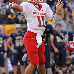 Oct 25, 2008; Pittsburgh, PA, USA; Rutgers quarterback Domenic Natale (11) tosses a 10 yard pass to wide receiver Tim Brown during the first half of Rutgers 54-34 victory at Heinz Field.