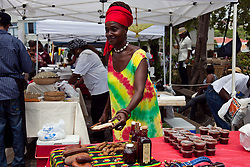"Adama Fleming offers ""Stinky Toe""  or locus as well as stewed tamarind stewed guavaberry, and sorrel wine"