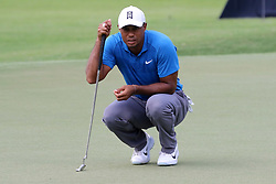 September 22, 2018 - Atlanta, GA, U.S. - ATLANTA, GA - SEPTEMBER 22:    Tiger Woods lines up his putt on the 4th hole during the third round of the Tour Championship on September 22, 2018, at East  Lake Golf Club in Atlanta, GA.  (Photo by Michael Wade/Icon Sportswire) (Credit Image: © Michael Wade/Icon SMI via ZUMA Press)