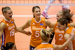 22-08-2017 NED: World Qualifications Netherlands - Greece, Rotterdam<br /> Nika Daalderop #19 of Netherland, Robin de Kruijf #5 of Netherlands, Femke Stoltenborg #2 of Netherlands