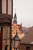 Looking out over the town of Chemnitz, Germany, from the castle tower.  There's a mixture of modern and medieval buildings.