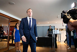 © Licensed to London News Pictures. 10/06/2019. London, UK. Matt Hancock walks into the room where he is launching his Conservative Party leadership bid. Contenders have until 5pm today to put themselves forward in the contest to replace Theresa May. Photo credit: Peter Macdiarmid/LNP