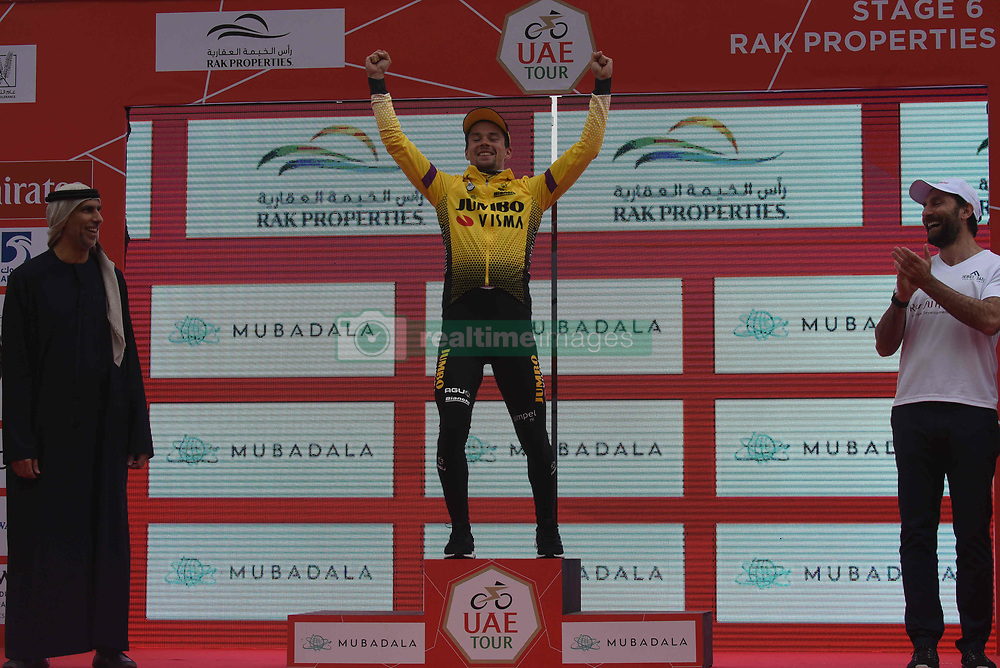 March 1, 2019 - Jebel Jais, United Arab Emirates - Primoz Roglic celebrates his win in the sixth Rak Properties Stage of UAE Tour 2019, a 180km with a start from Ajman and finish in Jebel Jais. .On Friday, March 1, 2019, in Jebel Jais, Ras Al Khaimah Emirate, United Arab Emirates. (Credit Image: © Artur Widak/NurPhoto via ZUMA Press)