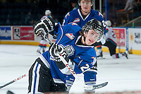 KELOWNA, CANADA -FEBRUARY 8: Braden Oleksyn #28 of the Victoria Royals takes a shot on net during warm up against the Kelowna Rockets on February 8, 2014 at Prospera Place in Kelowna, British Columbia, Canada.   (Photo by Marissa Baecker/Getty Images)  *** Local Caption *** Braden Oleksyn;