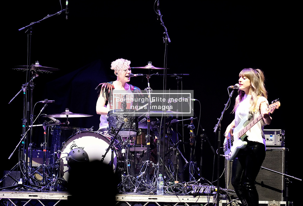 Hall and Oates Tour, Wednesday 1st May 2019<br /> <br /> Pictured: Support Artist KT Tunstall's drummer Cat Myers and bassist Mandy Clarke <br /> <br /> Aimee Todd | Edinburgh Elite media