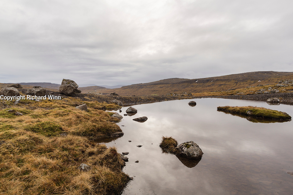 View over the moorland above Torshavn, on Streymoy, one of the larger islands in the Faroes.