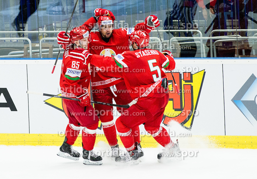 Players of Belarus celebrate after scoring last goal during Ice Hockey match between Belarus and Slovenia at Day 2 in Group B of 2015 IIHF World Championship, on May 2, 2015 in CEZ Arena, Ostrava, Czech Republic. Photo by Vid Ponikvar / Sportida
