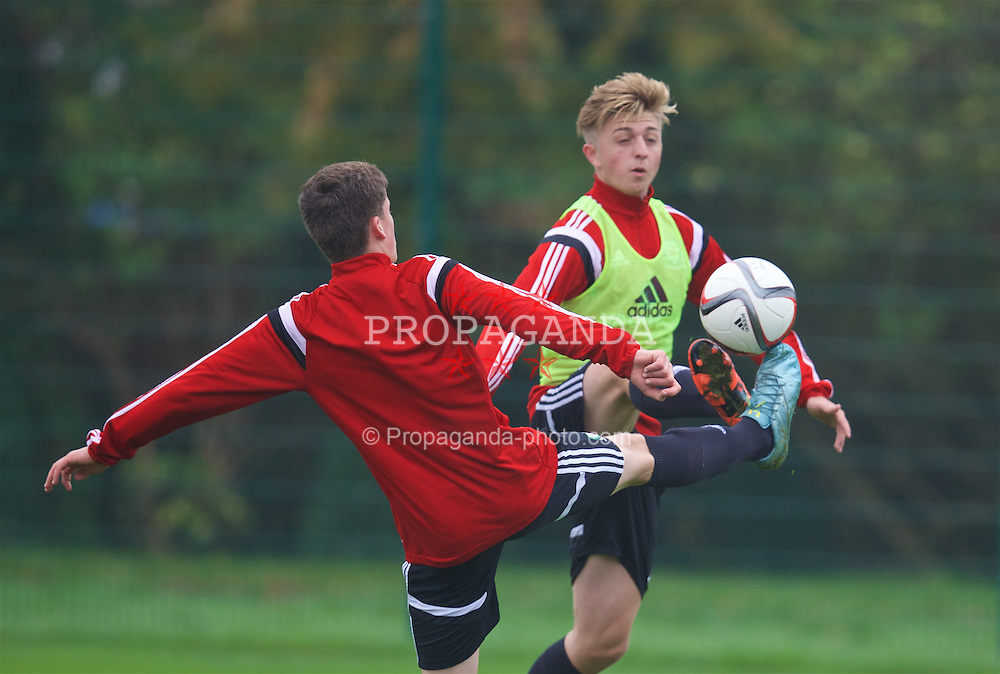NEWPORT, WALES - Monday, November 2, 2015: Wales' Keiron Proctor during a training session ahead of the Under-16's Victory Shield International match at Dragon Park. (Pic by David Rawcliffe/Propaganda)