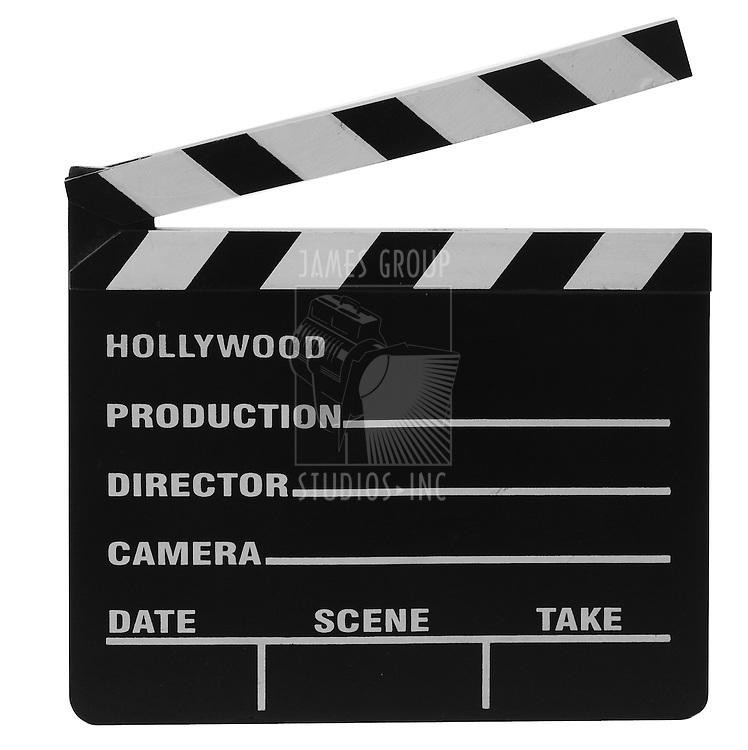 movie clapper board isolated on whtie background with clipping path