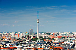 Skyline with Television Tower of Fernsehturm in Berlin Germany