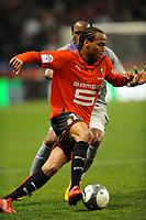 FOOTBALL - FRENCH CHAMPIONSHIP 2009/2010 - L1 - STADE RENNAIS v TOULOUSE FC - 20/03/2010 - PHOTO PASCAL ALLEE / DPPI - JIMMY BRIAND (REN) / ALBIN EBONDO (TFC)