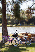 Resting Bikes At El Dorado Regional Park In Long Beach California