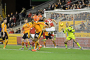 Nottingham Forest striker Dexter Blackstock equalises during the Sky Bet Championship match between Wolverhampton Wanderers and Nottingham Forest at Molineux, Wolverhampton, England on 11 December 2015. Photo by Alan Franklin.