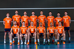 28-12-2019 NED: Team photo Volleyball men, Arnhem<br /> Volleyball men photoshoot before the final training when they leave for Olympic Qualification Tournament / Gijs van Solkema #15 of Netherlands, Luuc van der Ent #5 of Netherlands, Tim Smit #12 of Netherlands, Thijs Ter Horst #4 of Netherlands, Maarten van Garderen #3 of Netherlands, Robbert Andringa #18 of Netherlands, Wessel Keemink #2 of Netherland Zittend Ewoud Gommans #9 of Netherlands, Just Dronkers #6 of Netherlands, Wouter Ter Maat #16 of Netherlands,  Fabian Plak #8 of Netherlands, Nimir Abdelaziz #14 of Netherlands, Jelte Maan #11 of Netherlands, Michael Parkinson #17 of Netherlands