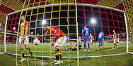 DEVENTER, Go Ahead Eagles - PSV 0-3, voetbal Eredivisie seizoen 2014-2015, 07-03-2015, Stadion de Adelaarshorst, GA Eagles speler Sander Duits (3L) en GA Eagles speler Xandro Schenk (2L) balen na de 0-3 voor PSV.