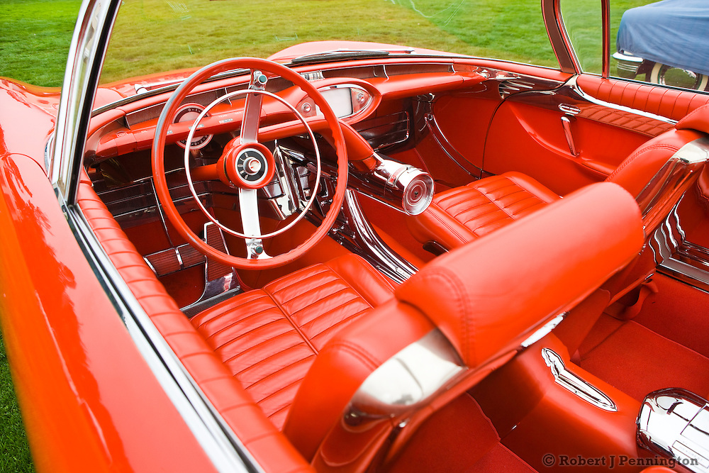 General Motors displays a collection of Concept Cars from the Motorama of the mid 1950s during the 2008 Pebble Beach Concours de Elegance. The 1956 Buick Centurion XP-310 Featured a dash mounted television screen and a rear mounted camera instead of conventional rear view mirrors.