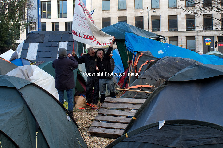 Occupy London protesters in Finsbury square