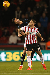 February 13, 2019 - Sheffield, South Yorkshire, United Kingdom - SHEFFIELD, UK 13TH FEBRUARY Daniel Ayala of Middlesbrough contests a header with Billy Sharp of Sheffield United  during the Sky Bet Championship match between Sheffield United and Middlesbrough at Bramall Lane, Sheffield on Wednesday 13th February 2019. (Credit: Mark Fletcher | MI News) (Credit Image: © Mi News/NurPhoto via ZUMA Press)
