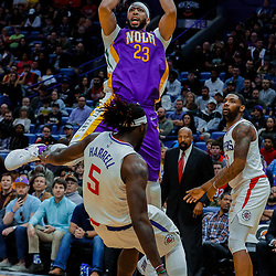 Jan 28, 2018; New Orleans, LA, USA; New Orleans Pelicans forward Anthony Davis (23) shoots over LA Clippers forward Montrezl Harrell (5) during the fourth quarter at the Smoothie King Center. The Clippers defeated the Pelicans 112-103. Mandatory Credit: Derick E. Hingle-USA TODAY Sports