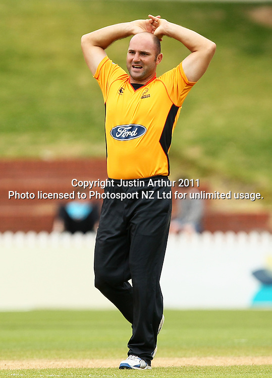 Luke Woodcock reacts. Ford Trophy - Wellington Firebirds v Otago Volts, Hawkins Basin Reserve, Sunday 4 December 2011. Photo: Justin Arthur / Photosport.co.nz