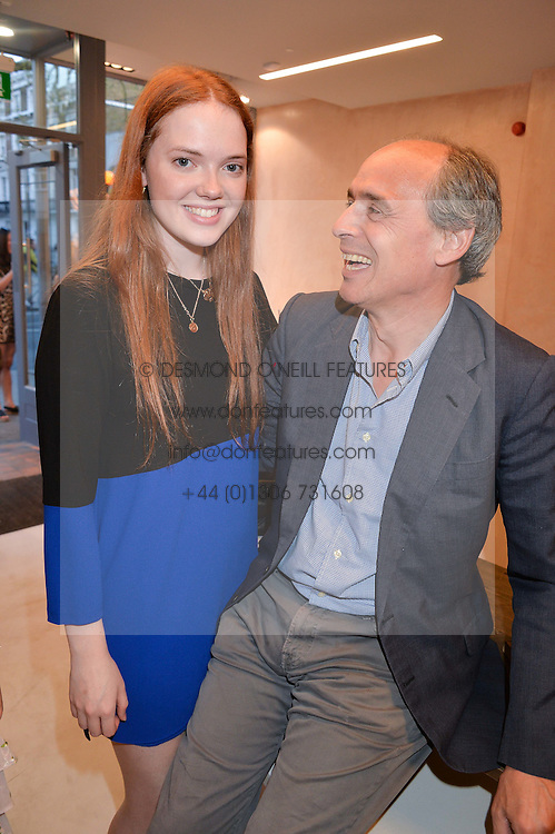 JAMES GILBEY and his step-daughter HELENA HADSLEY-CHAPLIN at a party to celebrate the re-launch of the Ghost Flagship store at 120 King's Road, London on 15th April 2015.